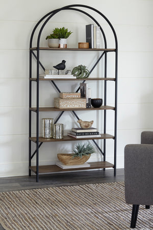 Industrial Bookcase with Distressed Shelves