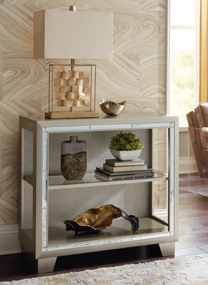 Metallic Grey Accent Cabinet with Beveled Mirror Accents