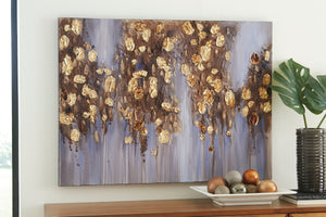 Gold Metallic Leaves Canvas Wall Art
