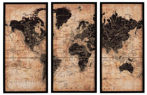 World Map 3 Piece Canvas Wall Art Set