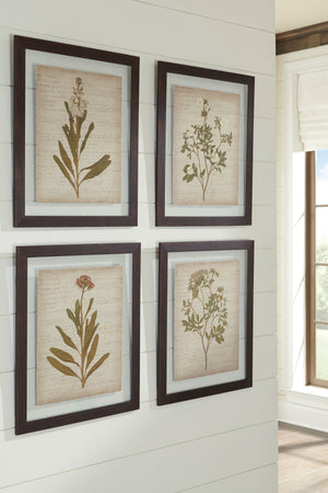 Glass Botanical Design 4 Piece Wall Art Set