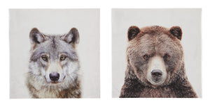 Wolf & Bear 2 Piece Canvas Wall Art