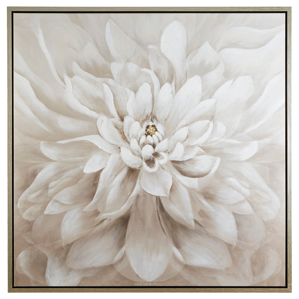 Taupe Flower Design Canvas Wall Art