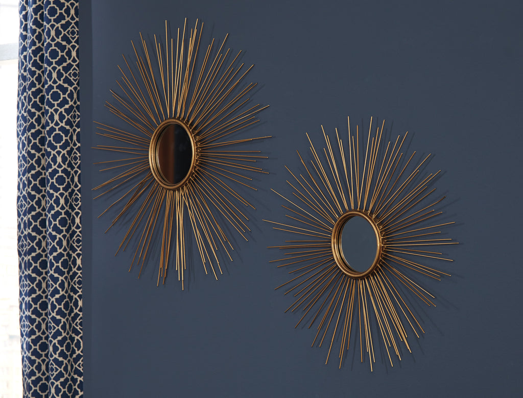 Antique Gold Sunburst Accent Wall Mirrors