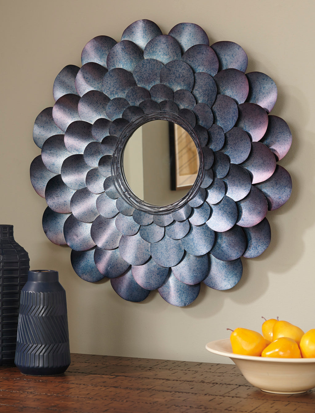 Accent Wall Mirror with Metal Petals