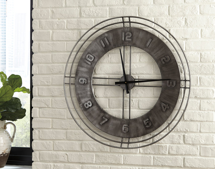 Antique Grey Metal Wall Clock