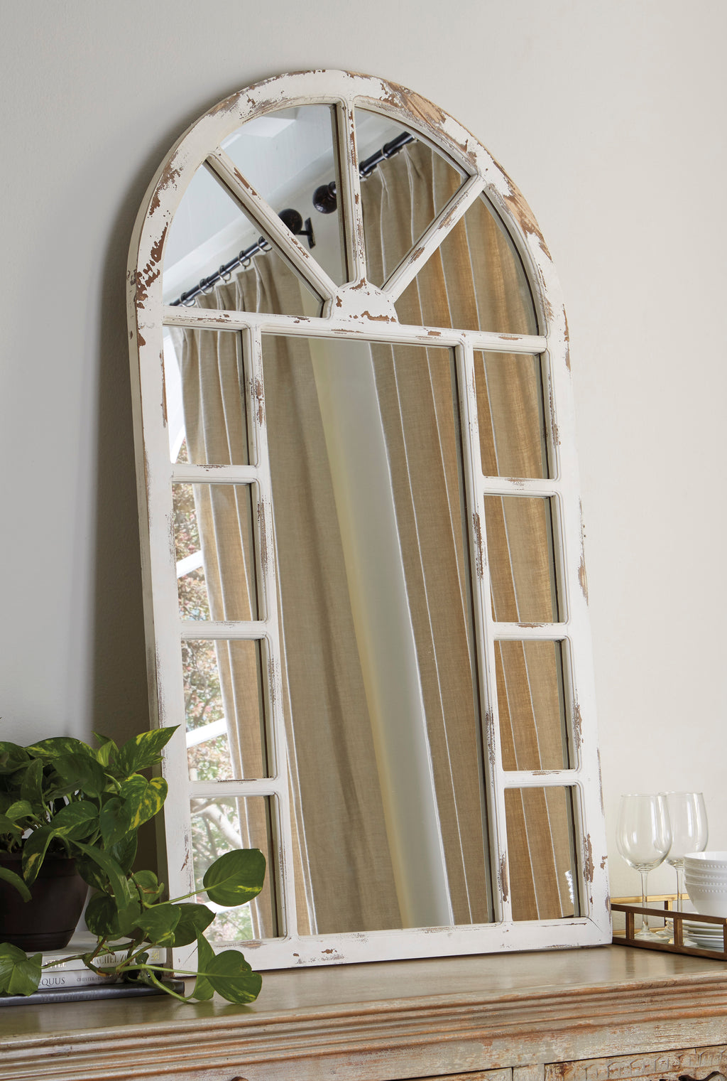 Antique White Arched Window Accent Wall Mirror