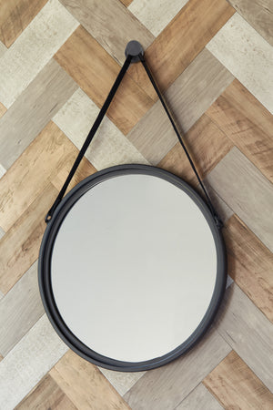 Round Black Accent Wall Mirror with Leather Strap