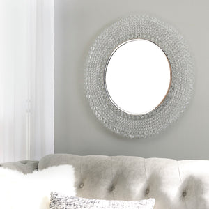 Round Crystal Beads Accent Wall Mirror