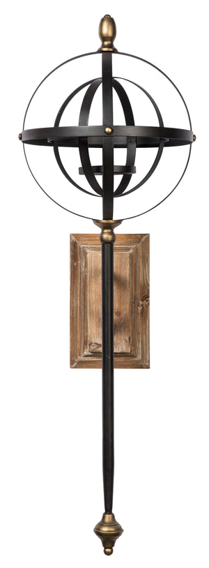 Black and Gold Metal Wall Sconce with Candle Holder