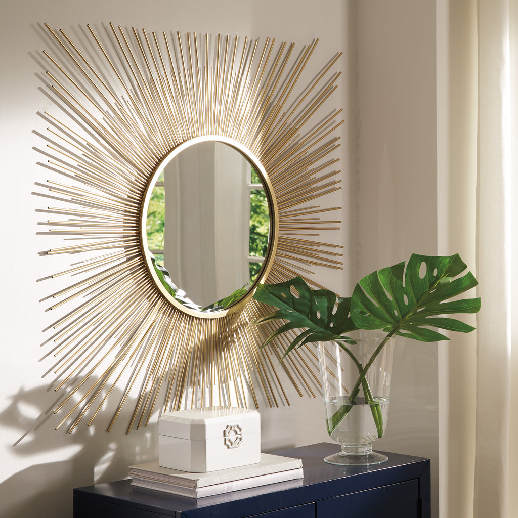 Square Sunburst Design Accent Wall Mirror