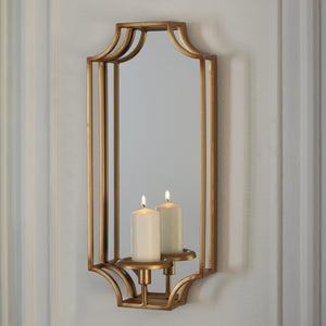 Mirrored Wall Sconce with Candle Holder