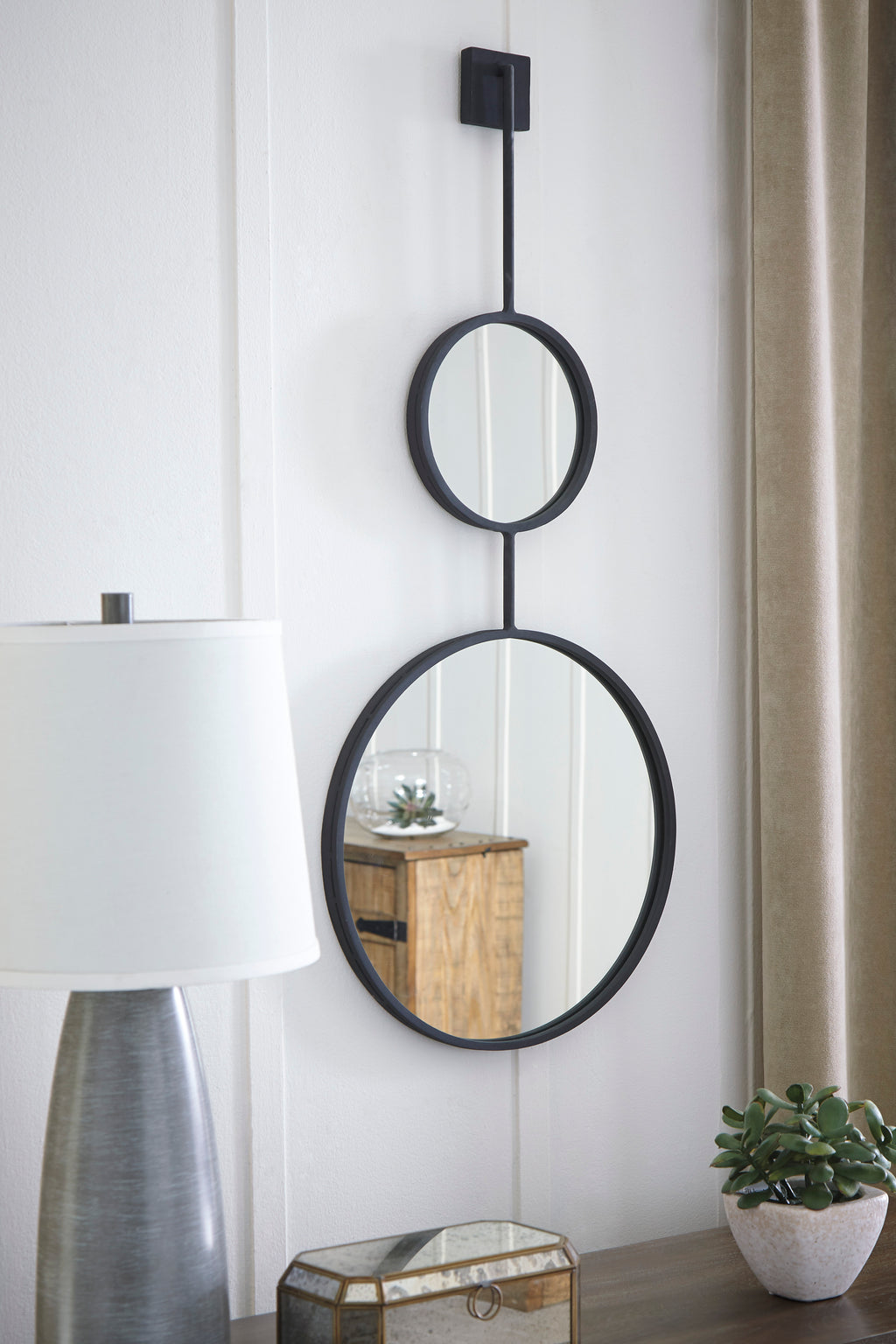 Textured Black Metal Accent Wall Mirror