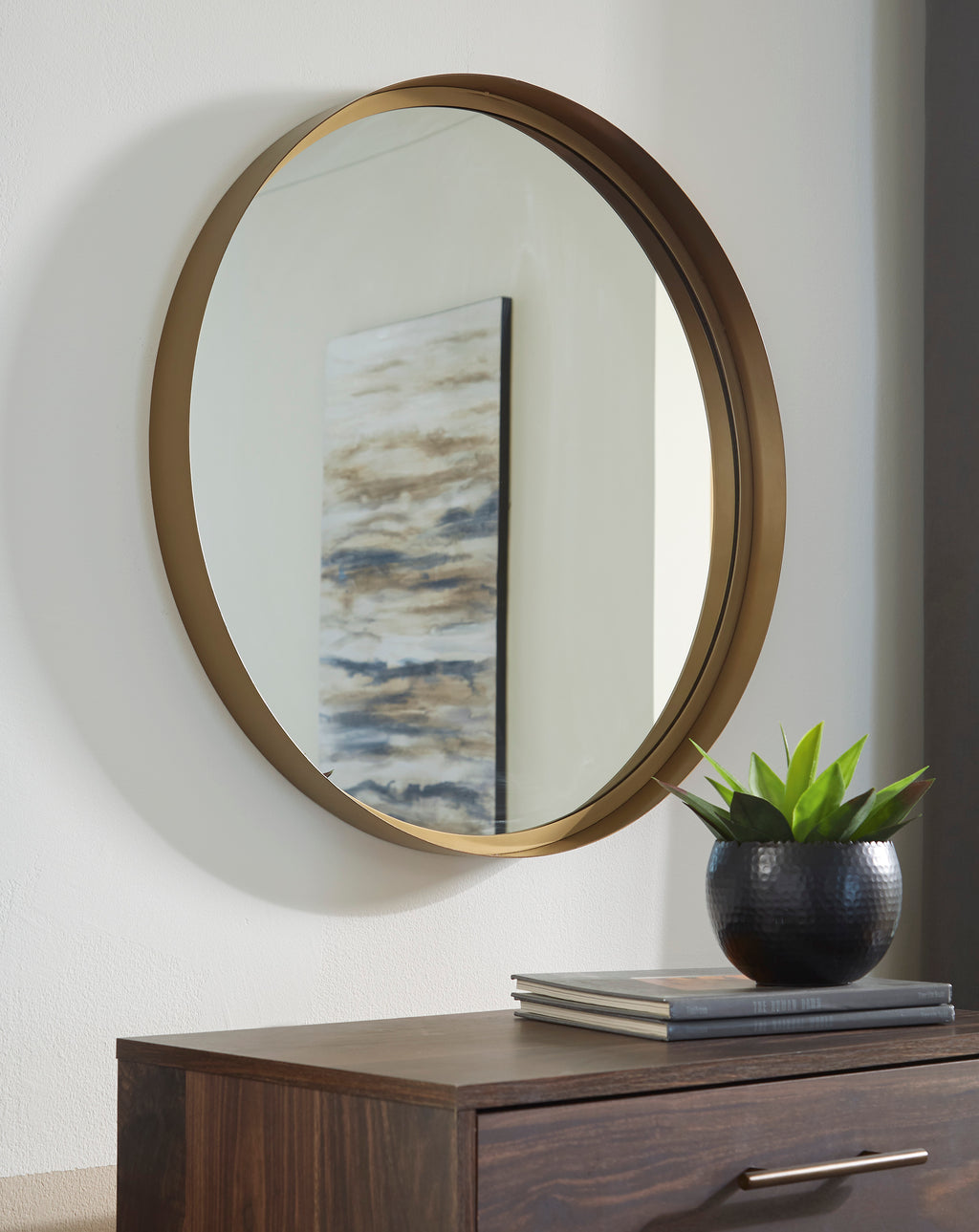 Elena Gold Round Accent Wall Mirror