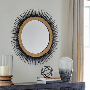 Black and Gold Sunburst Accent Wall Mirror
