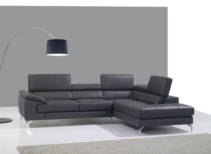 Stacy Leather Sectional with Adjustable Headrests in 3 Color Options