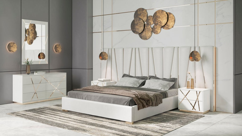 Neal White & Champagne Gold Bedroom Collection