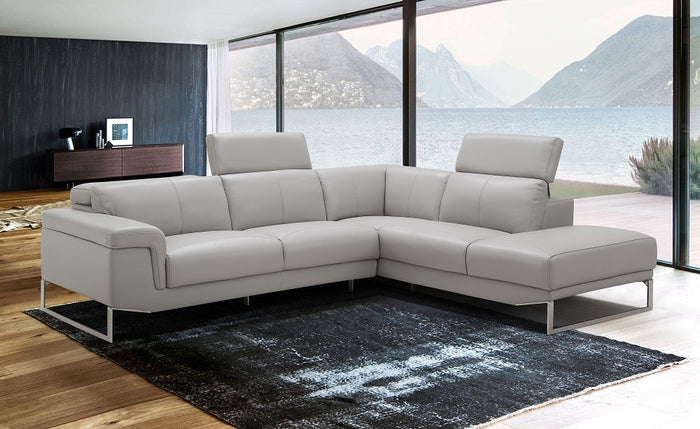 Athens Contemporary Grey Leather Sectional