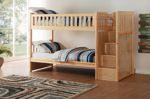 Ryan Twin Bunk Bed with Storage Staircase in  4 Color Options
