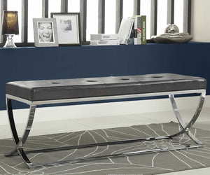 Nova Modern Bench with Chrome Base in Black or White