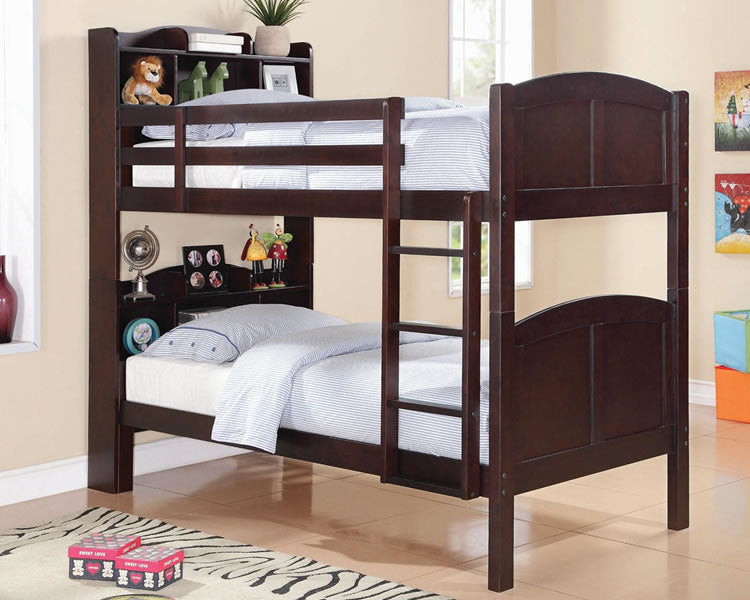 Parker Twin Bunk Bed with Bookcase Headboard