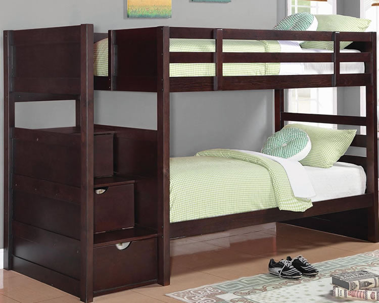 Elliott Twin Bunk Bed with Storage Staircase