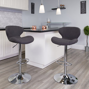 Contemporary Fabric Adjustable Barstool in 3 Color Options