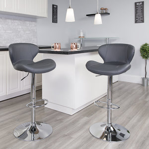 Curved Back Adjustable Barstool in 6 Color Options