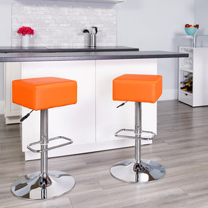 Square Seat Adjustable Barstool in 5 Color Options