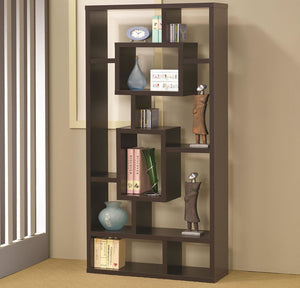 Cappuccino Bookcase with Rectangular Shelves