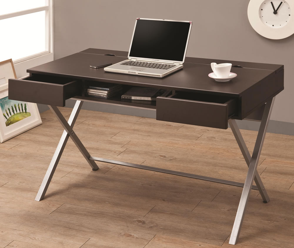 Cappuccino Connect-It Desk with Built-in Outlet