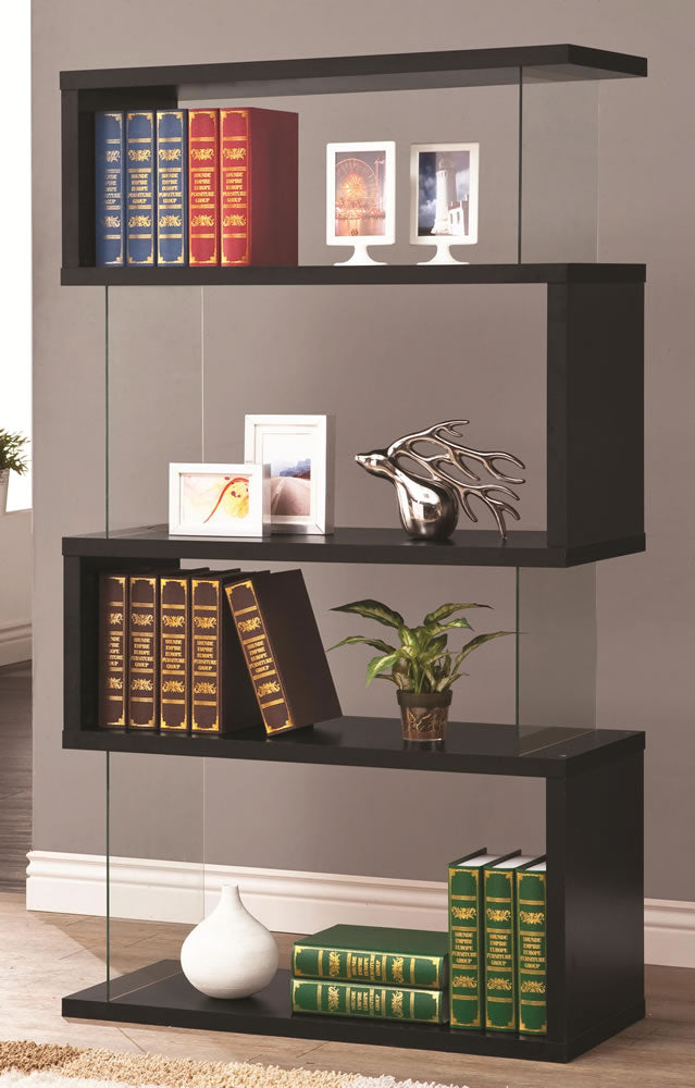 Black Floating Bookshelf with Glass Side Panels