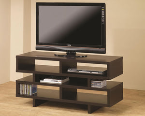 Contemporary TV Console with Open Storage in White or Cappuccino