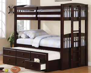 Logan Twin Over Twin Bunk Bed with Trundle Under Storage