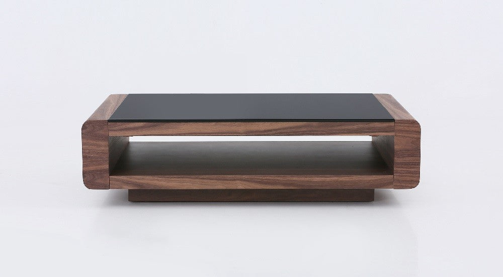 Luxor Walnut Coffee Table with Black Glass Top