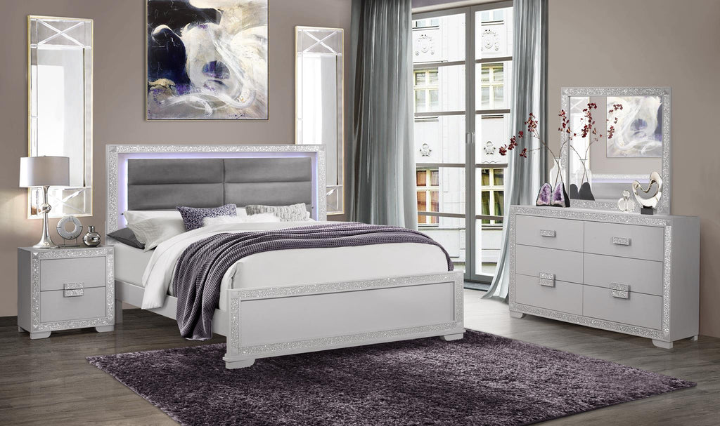 Alive Silver Bedroom Collection with LED Lighting