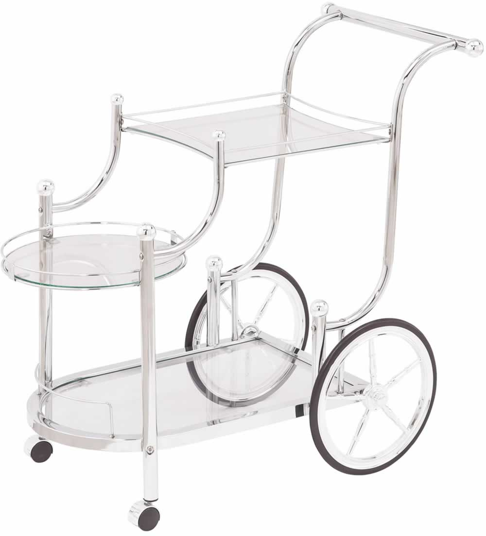 Modern Chrome & Glass Serving Cart