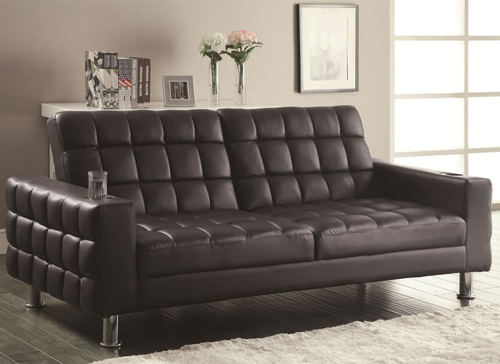 Tico Contemporary Black Armed Click Sofa Bed with Cup Holder & Tufting Accent