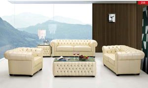Chesterfield Ivory Leather Living Room Collection