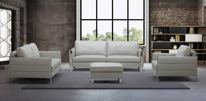 Constantine Leather Living Room Collection in Light Grey or White