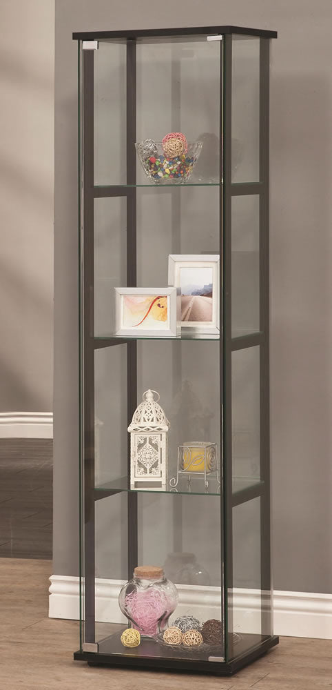 Contemporary Glass Curio Cabinet with 4 Shelves