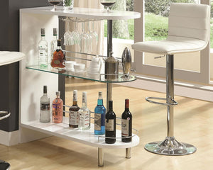 Plainfield Contemporary Bar Table in Black or White Glossy Finish