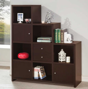 Cube Ladder Bookcase with Doors in Cappuccino or White Finish