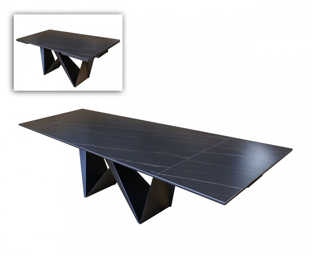 Modern Ceramic Extendable Dining Table in Black or White