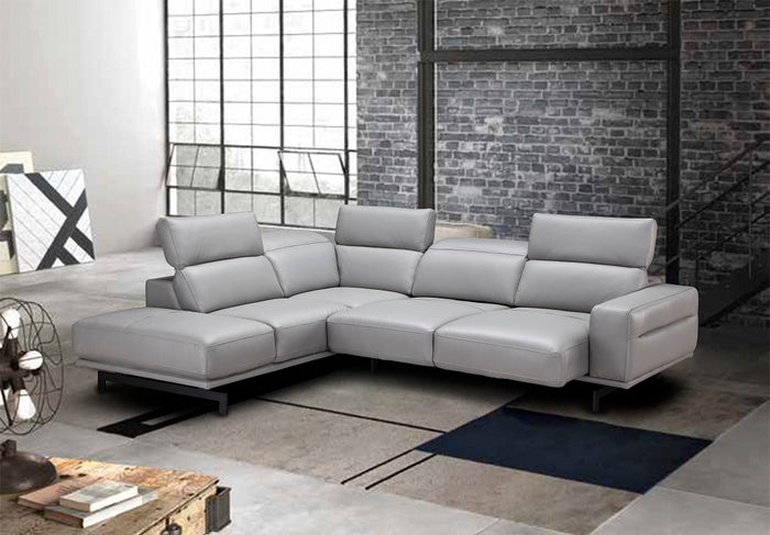 Devin Leather Sectional in Grey or White
