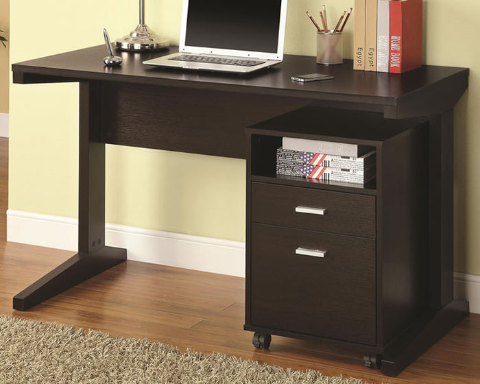 Home Office Desk with Rolling File Cabinet