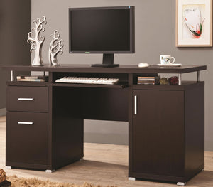 Double Pedestal Desk in Cappuccino with Floating Top