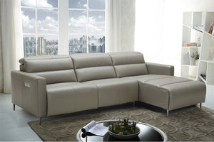 Dillard Taupe Leather Reclining Sectional