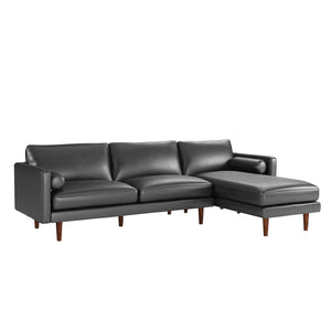 Cylia Mid Century Sectional in Caramel or Black Leatherette