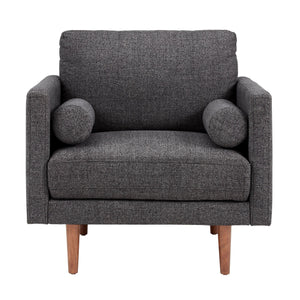 Cylia Mid Century Fabric Living Room Collection in Black or Grey